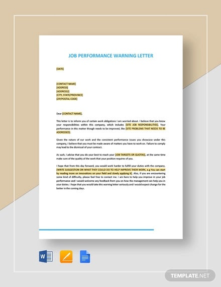Job Performance Warning Letter Template