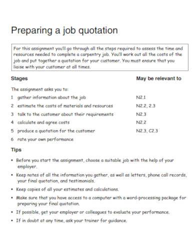 job quotation template