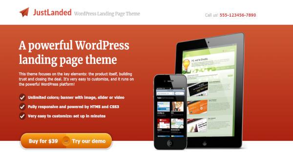 justlanded – customized wordpress theme
