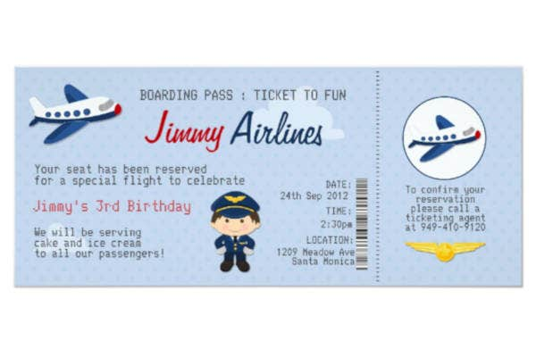 kids airline ticket template