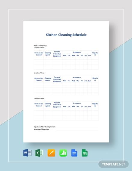 kitchen cleaning schedule