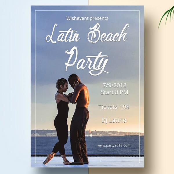 latin beach party flyer sample