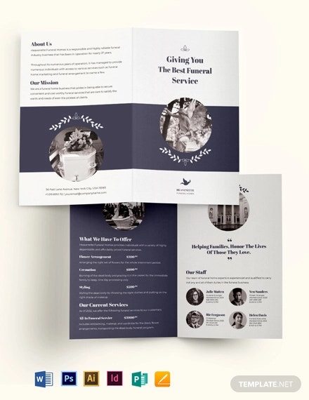 legacy funeral service bi fold brochure template
