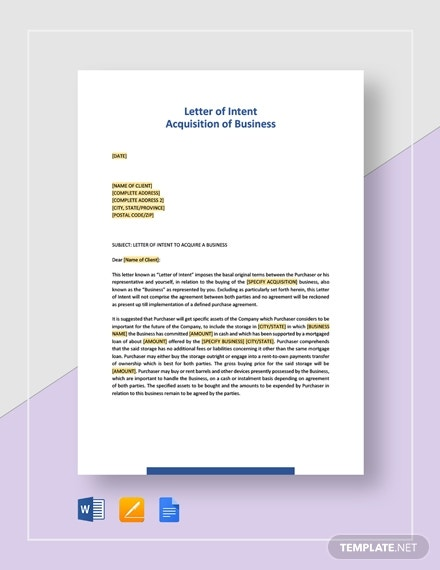 letter of intent acquisition of business