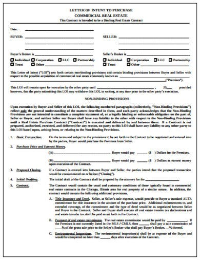 letter of intent to purchase commercial real estate template