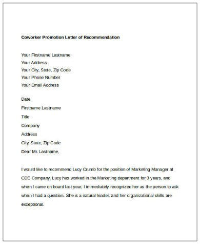 letter of promotion recommendation for a co worker