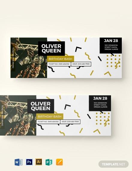 luxurious birthday event ticket sample