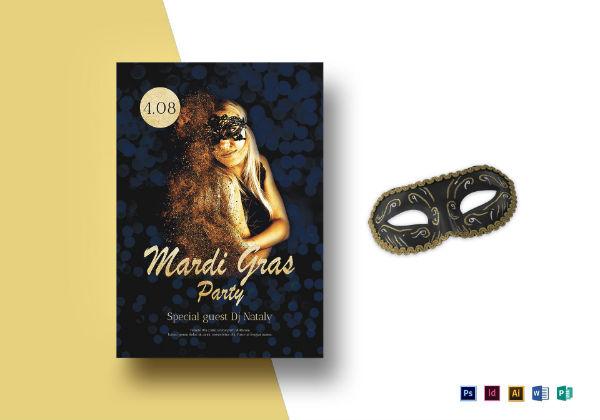 mardi gras party flyer invitation template