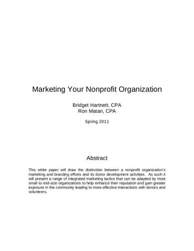 marketing plan for non profit organization