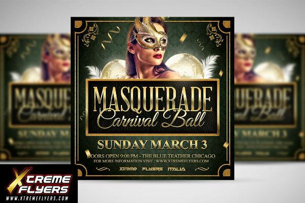 masquerade ball invitation flyer template