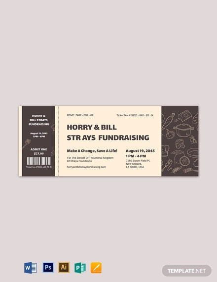 meal fundraiser ticket template