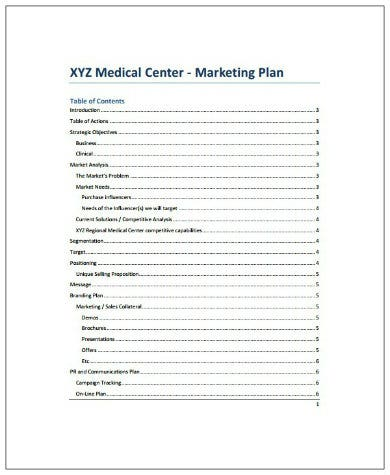 medical center healthcare marketing plan template1