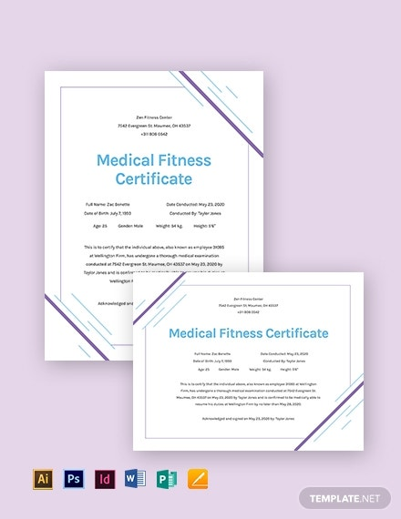 medical fitness certificate template