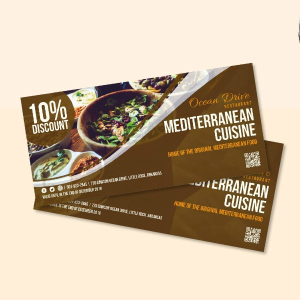 mediterranean restaurant food coupon template