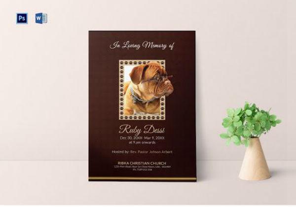 memorial prayer card for pet template