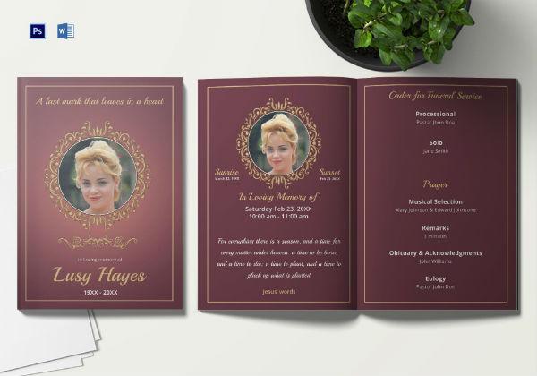 memorial service funeral brochure