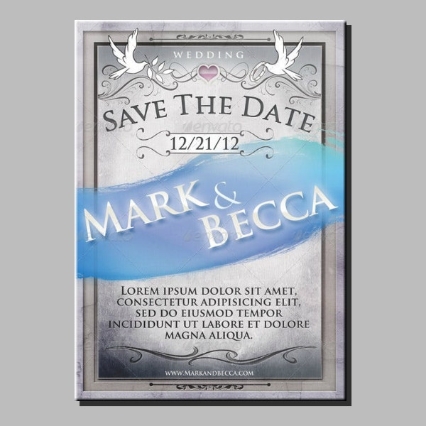 metallic wedding announcement card sample