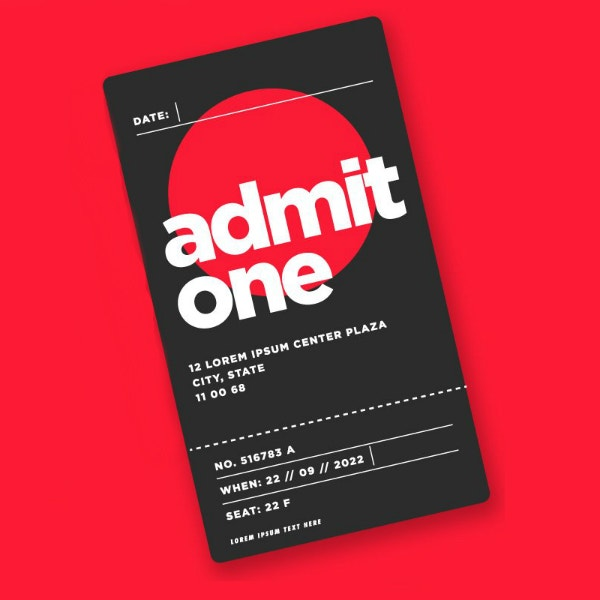 minimal admit one ticket template