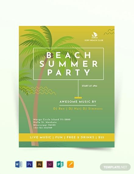 minimal beach summer flyer design
