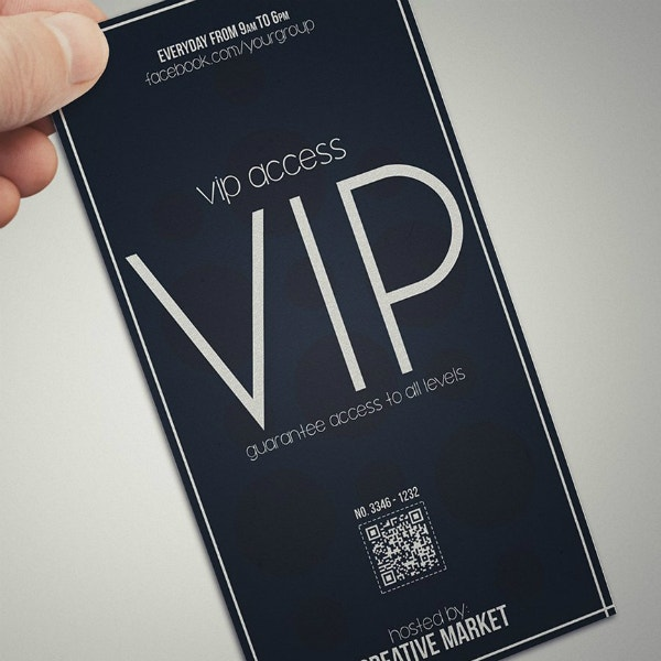 minimal vip ticket card layout