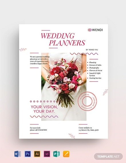 minimal wedding planners flyer sample