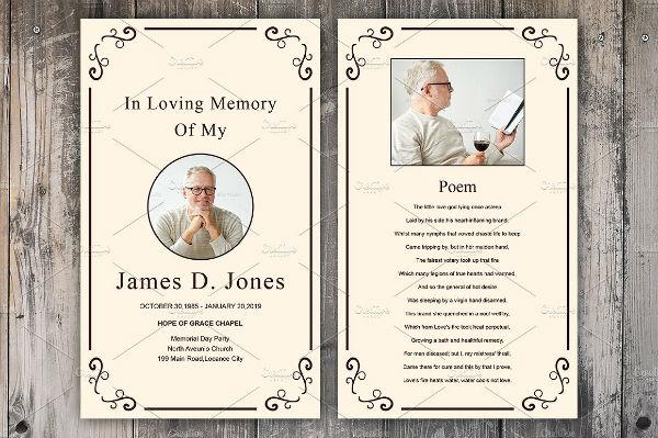 minimalist funeral prayer card template
