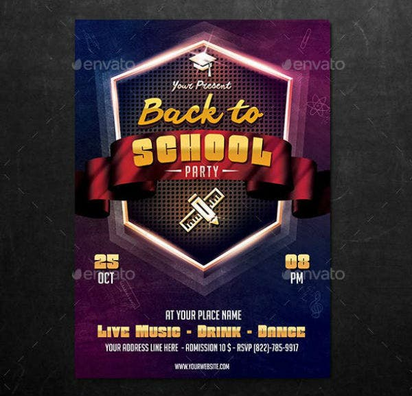 modern back to school flyer party template