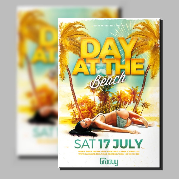 modern beach party flyer layout