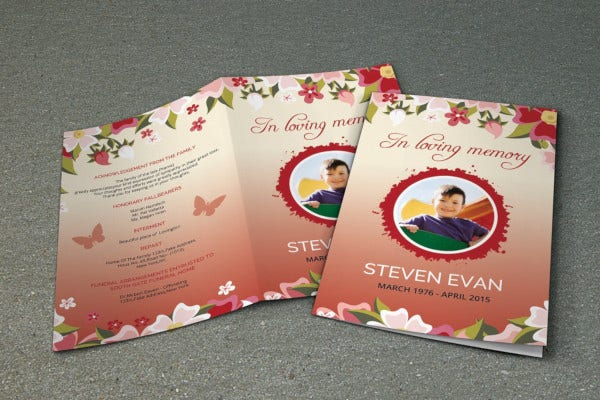 modern child funeral program template