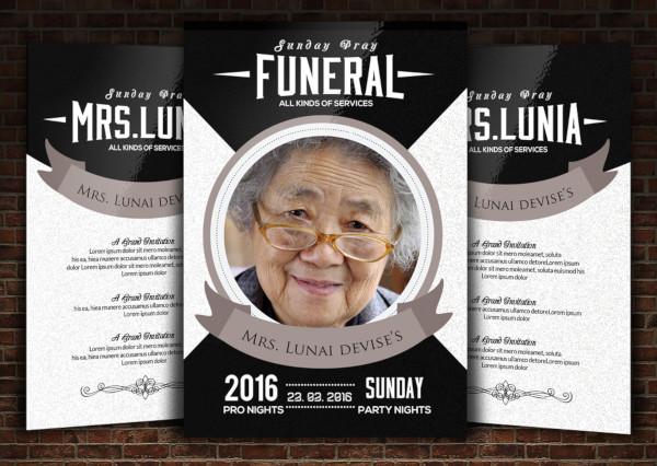 modern funeral flyer template
