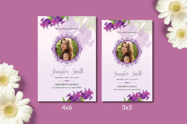 modern funeral prayer card template