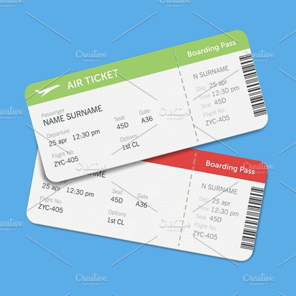 modern multipurpose airline ticket sample