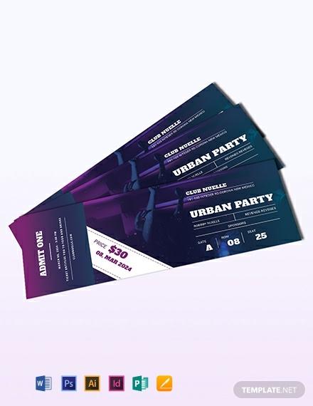 modern party festival ticket sample