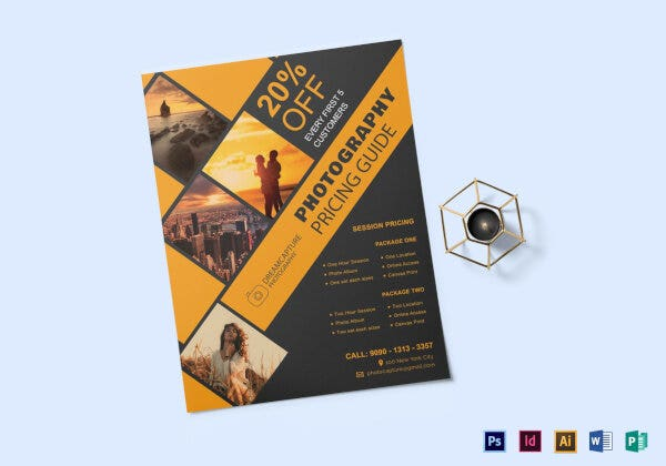 modern photography pricing list template