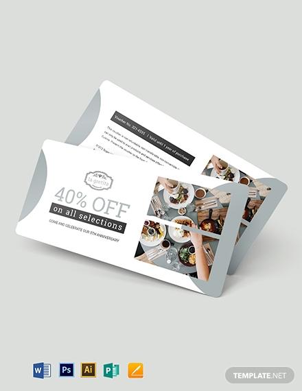 modern restaurant anniversary voucher layout