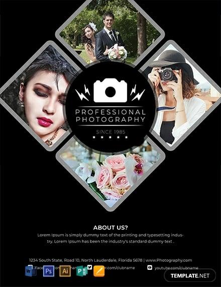 modern wedding photography flyer template