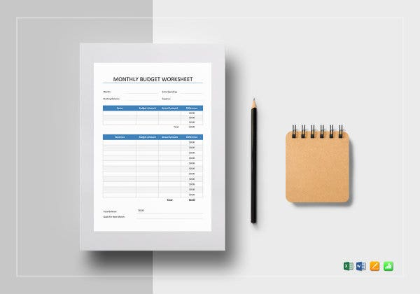 monthly budget worksheet mockup