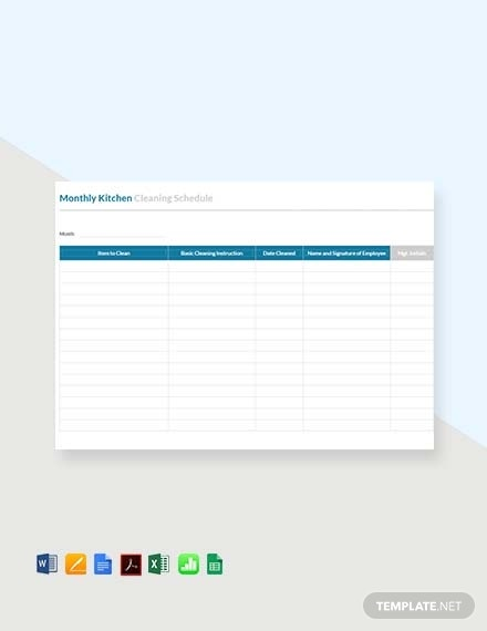 monthly kitchen cleaning schedule template