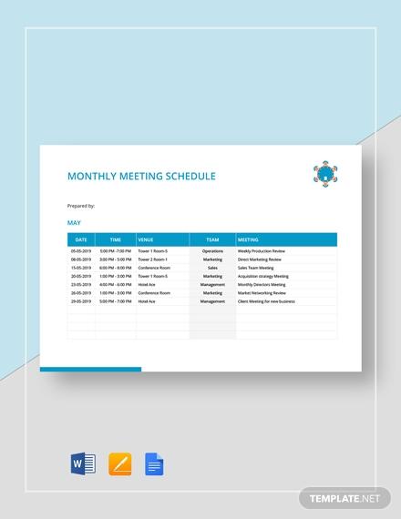monthly meeting schedule