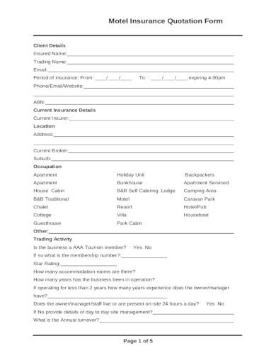 motel insurance quotation form