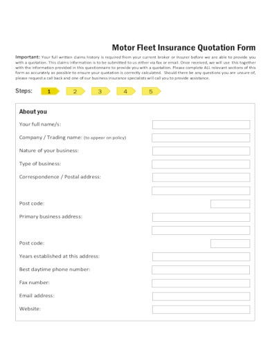 motor fleet insurance quotation form