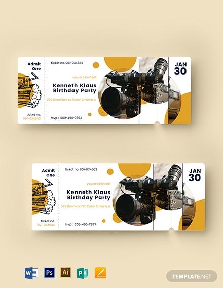 movie birthday event ticket layout