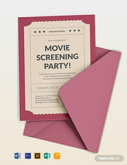 movie event ticket invitation sample
