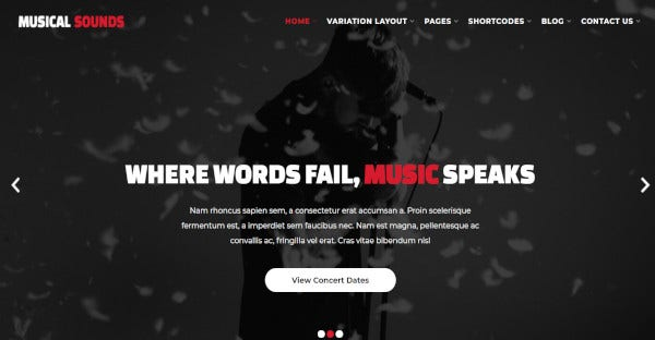 Musical Sounds - Multiple Page WordPress Theme