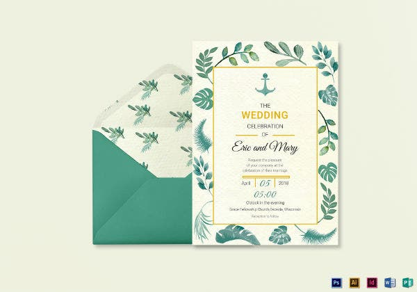 nautical wedding invitation card template