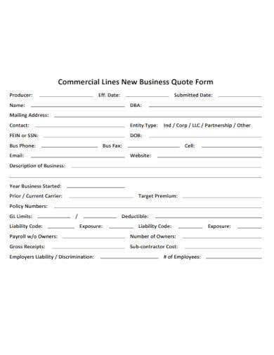 new business quote form