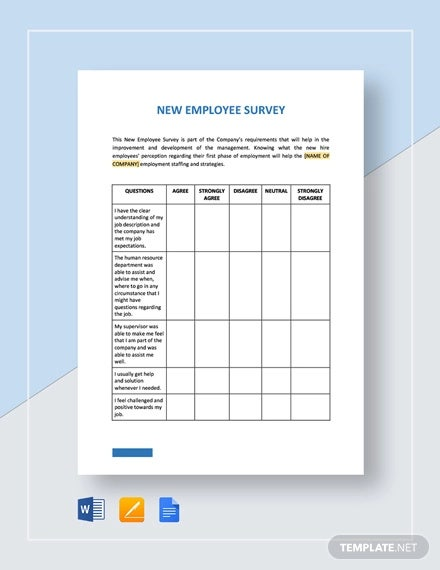 new employee survey template