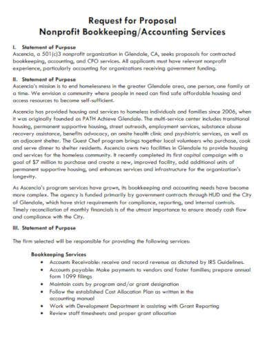 non profit bookkeeping request proposal