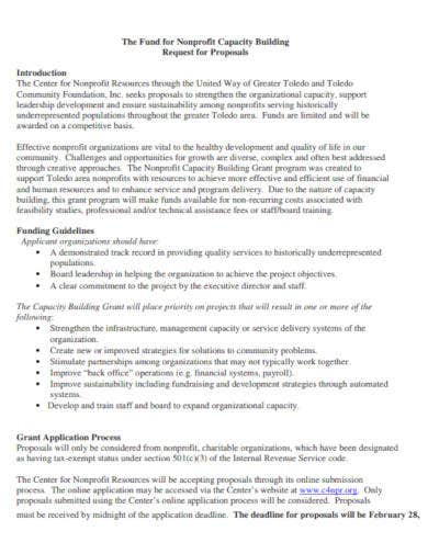 non profit funds request proposal