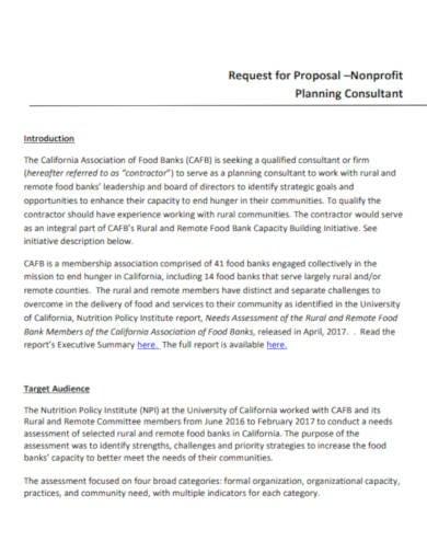 nonprofit consultant request for proposal